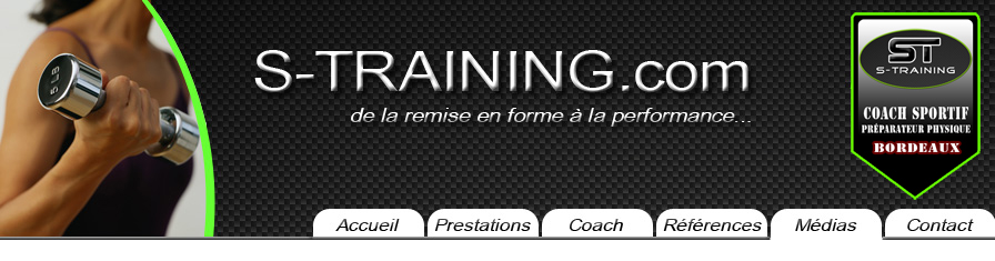 médias et menu de s-training coach sportif à Bordeaux